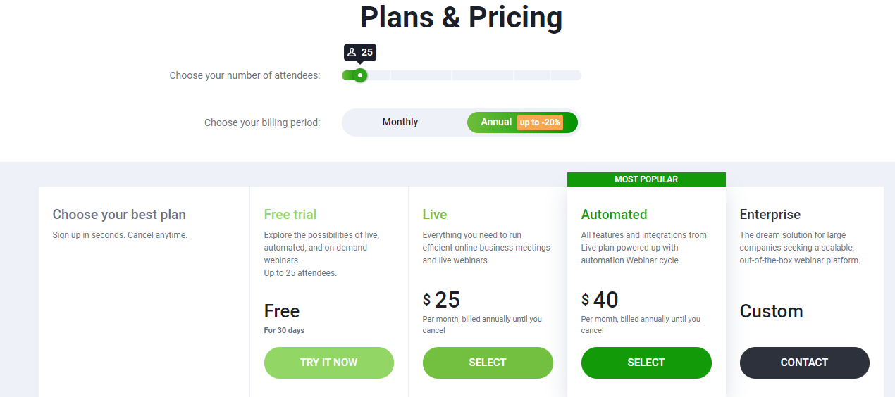 Pricing ClickMeeting - 14 Best Webinar Software Tools in 2020 (Ultimate Guide for Free)