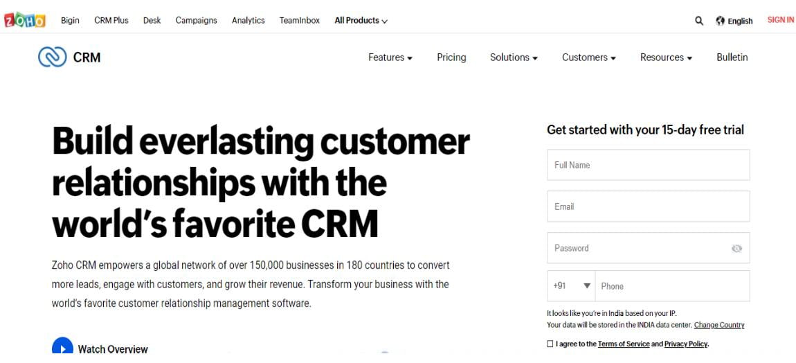 zoho 1 - Best CRM software for 2021